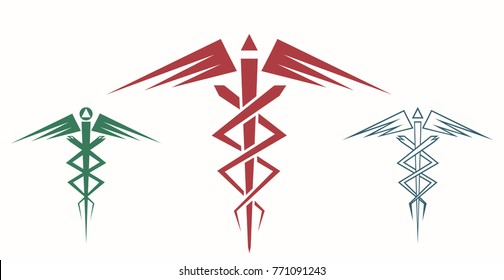 Set of abstract caduceus. Medical or commercial symbol. Modern depiction of the caduceus. Vector illustration EPS-8.