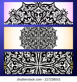 Set abstract card, vector background, card or invitation with Islam, Arabic, Indian, ottoman motifs.