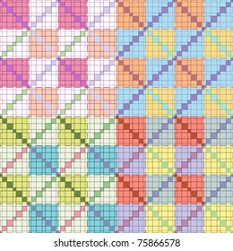 Set of abstract checkered pattern