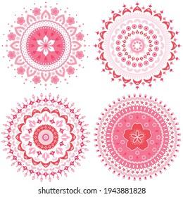 Set of abstract cherry blossom mandala ornament. Japan sakura flower vector illustration