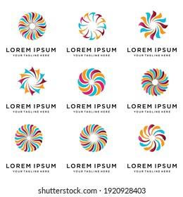 set of abstract circle logo design vector