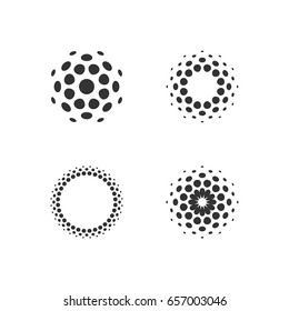 Set of abstract circular halftone dots forms. Vector illustration