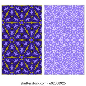 set of Abstract color pattern in the form of a multicolored mosaic with elements of lace and floral ornament. vector illustration. For textiles, design, wallpapers, greeting cards, products for home