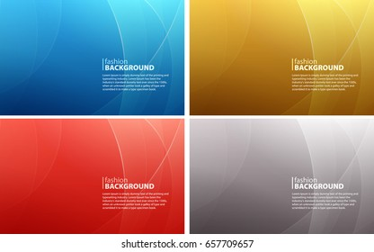 Set of abstract colored backgrounds of curved lines. Curvaceous lines with blur gradient effect. Vector illustration.