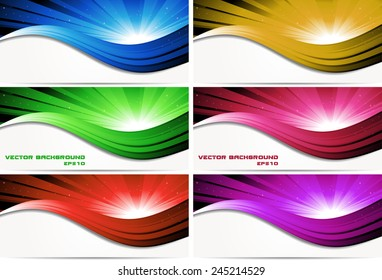 Set of abstract colored banners