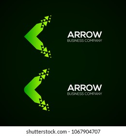 Set of Abstract Colorful Arrow Next Pixel Dots logos, Triangle Green icons, Technology and digital Symbol, Fly Forward Express Signs,  Square and Circle shape Symbol and Icon Vector Design Elements