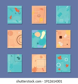 set of abstract and colorful covers with shapes and leaves, vector illustration