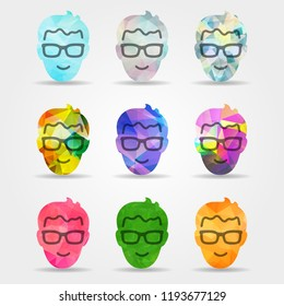 set of abstract colorful geometric flat happy smile male faces with glasses shapes from triangular forms for graphic design