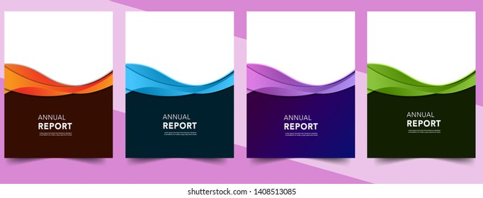 Set Abstract colorful geometric modern annual report flyer Brochure leaflet, the presentation cover, magazine advertising. cover with an abstract background. vector template layout of A4 format
