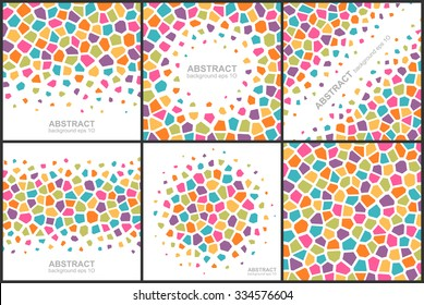 Set of abstract colorful geometric patterns. Global colors - easy to change.