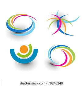 set of abstract colorful icons element.