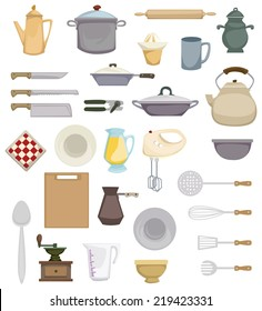 Set of abstract colorful kitchen related items, vector illustration