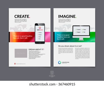Set of abstract colorful layout brochure, magazine, flyer design, cover or report in A4 with blurred background. Vector Illustration.
