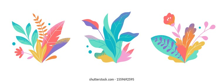 Set of abstract colorful leaves and flowers. Vector isolated elements on a white background. Tropical flat design with particle texture. Botanical illustration.