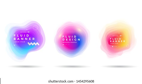 Set of abstract colorful liquid shapes. Fluid gradients banner design. Isolated dynamical art form.