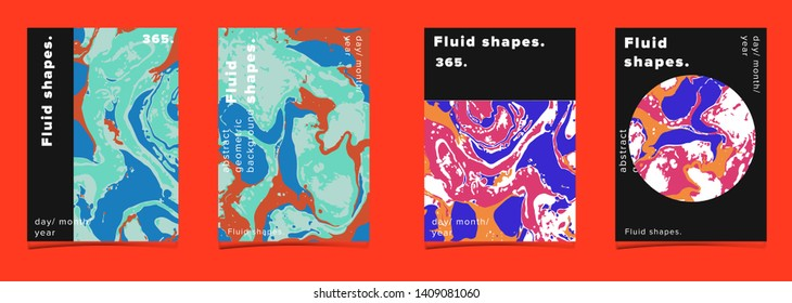 Set of abstract colorful minimal artistic neon vector posters with beautiful marbled texture. Collection of geometric craft covers made using Turkish Paper Marbling or Ebru Technique.