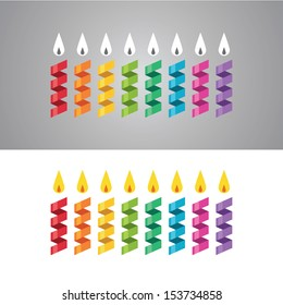 Set of abstract colorful paper candles in vector