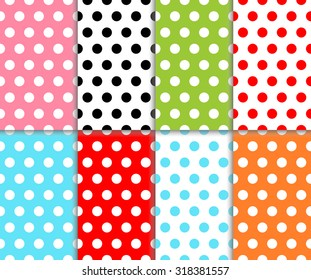 Set of abstract colorful polka dot seamless geometric pattern. Red, light blue, orange, green, pink and black color dotted design. Vector art image illustration background wall paper collection, eps10