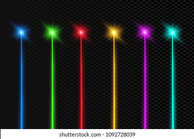 Set of abstract colors laser beam. Transparent is isolated on a black background. Vector illustration. Red. Gold. Green. Blue.