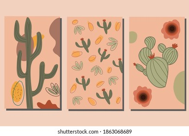 A set of abstract contemporary aesthetic background with a cactus theme suitable for wall decor, binder coverings, decorations, wallpapers. Cactus decoration.