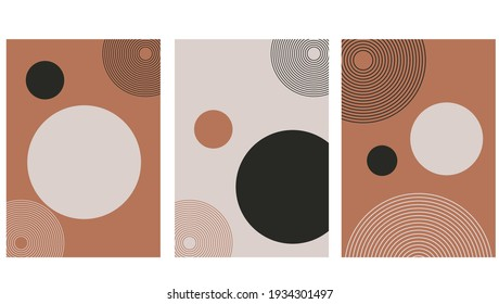 Set of abstract contemporary with geometric shapes. Design for wallpaper, background, wall decor, cover, print, card, branding. Modern boho minimalist art. Vector