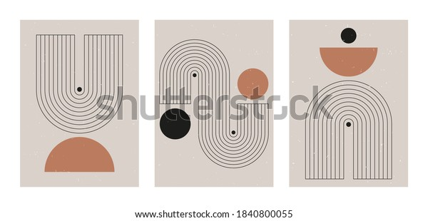 Set of abstract contemporary mid century posters with geometric shapes. Design for wallpaper, background, wall decor, cover, print, card, branding. Modern boho minimalist art. Vector illustration.