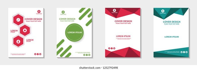 Set of abstract cover design. Annual report, pamphlet, presentation, brochure. Front page, book cover layout design. Cover design template.