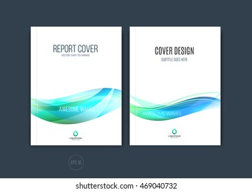 Set of abstract cover design, business brochure template layout, report, magazine or booklet in A4 with blue green dynamic blurred waves, soft lines and shapes. Vector.