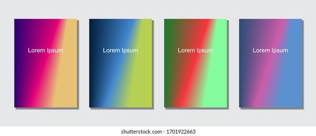 Set of abstract covers design templates with trendy gradient background.  Cool vibrant colors. Applicable for banners, flyers, presentations, posters and reports. Eps10 Vector illustration.