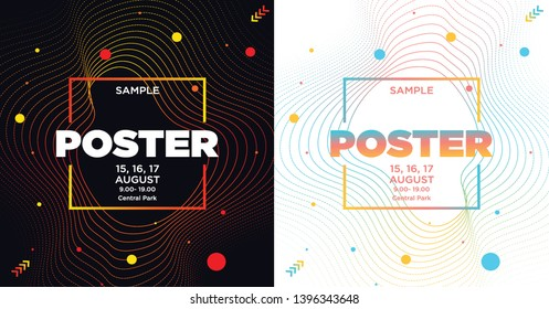 Set of abstract covers for Party. Colorful Waves Gradient Background. Template for DJ Poster, Web Banner, Pop-Up.