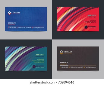 doublesided horizontal business card template abstract stock vector