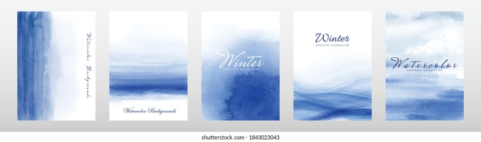 Set of abstract creative minimalist blue watercolor hand painted