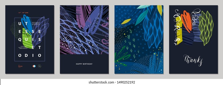 Set of abstract creative templates. Good for poster, card,flyer, cover, banner, placard, brochure and other graphic design. Vector illustration.
