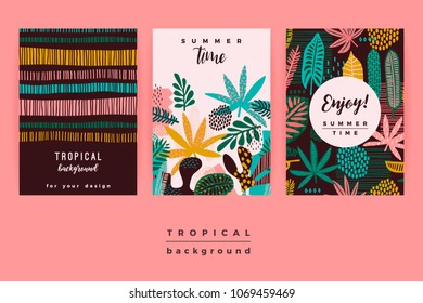 Set of abstract creative templates with tropical leaves. Vector design for card, poster, flyer, brochure, cover and other users.