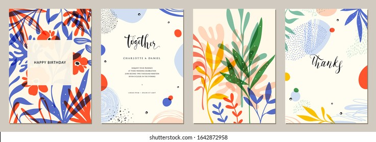 Set of abstract creative universal artistic templates. Good for poster, card, invitation,flyer, cover, banner, placard, brochure and other graphic design. Vector illustration.