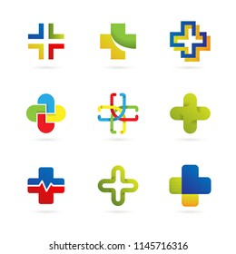 Set of Abstract Cross Logo Template With Modern Concept Use for Finance, Business, Medical, and Health Care Brand