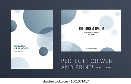 Set of Abstract design brochure in modern style, creative catalog, flyer in A4 with grey blue circles for branding, presentation, marketing kit. Business vector cover