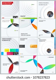 Set. Abstract design of light colourful vector elements for modern background with circles shadows for business branding.