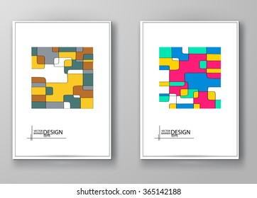 Set of abstract design templates. Brochures unusual color shapes style. Vintage frames and backgrounds. Vector Illustration.