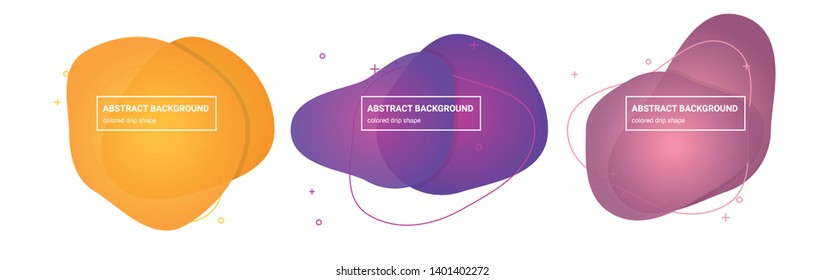 Set of Abstract drip shapes Background Templates in Pink-Salmon, Tapestry, Medium-Red-Violet, Royal-Purple, Tree-Poppy, Sunglow Gradients Colors for Logo, Flyer, Website etc.