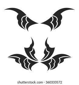 Set of abstract elements - black wings
