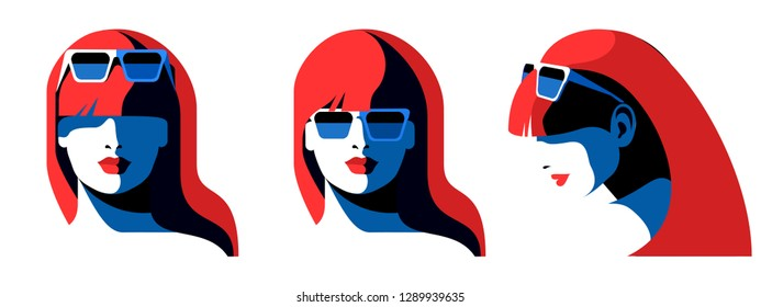 Set of abstract female portraits. Young woman face, front view, side view, long hair, sunglasses. Vector illustration