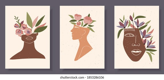 Set of abstract female shapes and silhouettes on textured background. Abstract women lips, eyes, face in pastel colors. Collection of contemporary art posters. Flowers and leaves compositions.