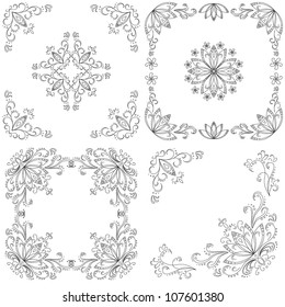 Set abstract floral backgrounds, black contour on white background. Vector illustration