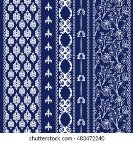 Set of abstract floral batik borders. Damask seamless pattern, paisleys, leaves stripes, gypsy and ethnic motifs. Ethnic textile collection. White on dark blue.