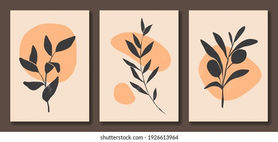 Set of abstract floral posters. Minimalist trendy contemporary style. Black, orange, beige colors. Organic shapes and leaves. Vector illustration. Design for wall decor, wallpaper, card, print.