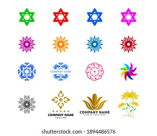 Set of Abstract flower logo icon vector design