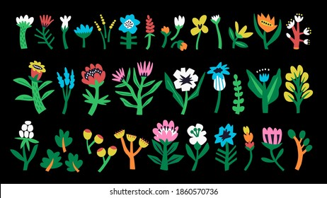Set of abstract flowers and shapes drawn by hands. A collection in a bright trendy style. Minimalistic and primitive colorful flowers. Isolated over black background. Flat cartoon style. Stock vector.