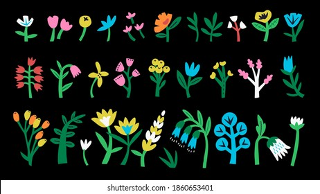 Set of abstract flowers and shapes drawn by hands. Floral collection in doodle trendy style. Minimalistic and primitive colorful flowers. Isolated over black background. Flat cartoon style. Stock.