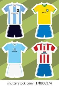 set of abstract football jerseys, argentina, brazil, uruguay and paraguay